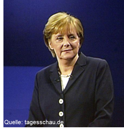 Angela Merkel beim TV-Duell am 4. September 2005